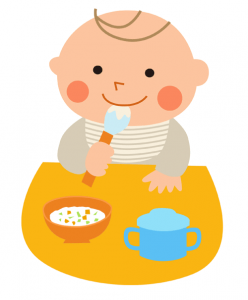 illustration of baby eating food